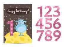 Happy Birthday Vector Cartoon Greeting Card Royalty Free Stock Photography