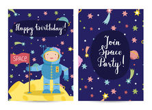 Happy Birthday Vector Cartoon Greeting Cards Set Royalty Free Stock Images