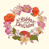 Happy Birthday! Vector congratulation card with floral wreath. And hand written inscription stock illustration