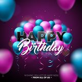 Happy Birthday Vector Design with Balloon, Typography and 3d Element on Shiny Background. Illustration for birthday. Celebration. greeting cards or poster Royalty Free Stock Photos