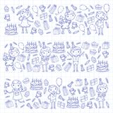 Happy birthday vector design Birthday hat Party and celebration. Kindergarten children, school kids party. Vector. Happy birthday vector design with smileys Stock Photos