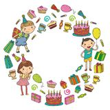 Happy birthday vector design Birthday hat Party and celebration. Kindergarten children, school kids party. Vector. Happy birthday vector design with smileys Royalty Free Stock Image