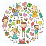 Happy birthday vector design Birthday hat Party and celebration. Kindergarten children, school kids party. Vector. Happy birthday vector design with smileys Royalty Free Stock Photos