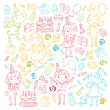 Happy birthday vector design Birthday hat Party and celebration. Kindergarten children, school kids party. Vector. Happy birthday vector design with smileys Stock Image