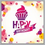 Happy Birthday vector design for greeting card. Includes beautif. Ul lettering and cupcake composition placed over blurred circles abstract background. Square vector illustration
