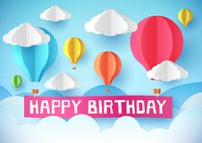 Happy Birthday. Design for greeting cards and poster with hot air balloons. Happy Birthday vector design for greeting cards and poster with balloons. Design stock illustration