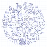 Happy birthday vector design Birthday hat Party and celebration. Kindergarten children, school kids party. Vector. Happy birthday vector design with smileys Stock Images