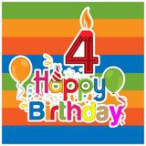 Happy birthday vector design with number four. for a four year old child. banner, sticker, greeting cards, and background. EPS file available. see more images vector illustration