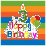 Happy birthday vector design with number three. for a three year old child. banner, sticker, greeting cards, and background. EPS file available. see more royalty free illustration