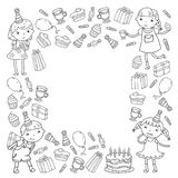Happy birthday vector design Birthday hat Party and celebration. Kindergarten children, school kids party. Vector. Happy birthday vector design with smileys Royalty Free Stock Images