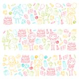 Happy birthday vector design Birthday hat Party and celebration. Kindergarten children, school kids party. Vector. Happy birthday vector design with smileys Royalty Free Stock Photography