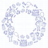 Happy birthday vector design Birthday hat Party and celebration. Kindergarten children, school kids party. Vector. Happy birthday vector design with smileys Stock Photo