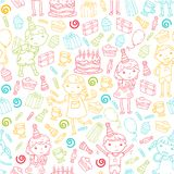 Happy birthday vector design Birthday hat Party and celebration. Kindergarten children, school kids party. Vector. Happy birthday vector design with smileys Stock Photography
