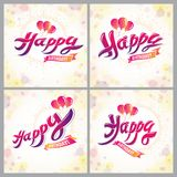 Happy Birthday vector designs for greeting cards set. Includes beautiful lettering and cupcake composition placed over blurred. Circles abstract background vector illustration