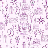 Happy birthday vector doodle seamless pattern Stock Photo