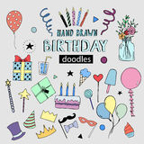 Happy Birthday vector doodles, party illustrations Stock Photos