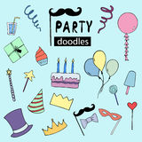 Happy Birthday vector doodles, party illustrations Stock Photo