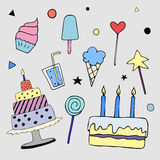 Happy Birthday vector doodles, party illustrations Stock Images