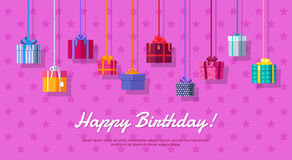 Happy Birthday Vector Flat Design Web Banner Stock Images