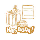 Happy Birthday. Vector golden sketch illustration of gift box, rosebud, vase with cakes. Place to record requests.  Stock Image