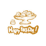 Happy Birthday. Vector golden sketch illustration of gift cake cup.  Royalty Free Stock Photography