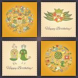 Happy birthday vector greeting card with abstract doodle birds and flowers. Happy birthday vector greeting card with abstract doodle birds and flowers Stock Photography