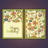 Happy birthday vector greeting card with abstract doodle flowers. Happy birthday vector greeting card with abstract doodle flowers Royalty Free Stock Photos