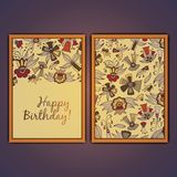 Happy birthday vector greeting card with abstract doodle flowers. Happy birthday vector greeting card with abstract doodle flowers Stock Photo