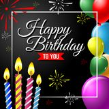 Happy birthday vector greeting card background with colorful balloon