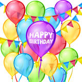 Happy birthday vector greeting card with balloons and ribbon. Happy birthday party vector greeting card with colorful balloons and ribbon decoration illustration Stock Photography