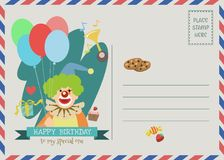Happy birthday greeting card. Happy birthday vector greeting card with cute clown character.happy birthday postcard Vector Illustration