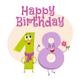 Happy birthday vector greeting card design with eighteen number characters. Happy birthday vector greeting card, poster, banner design with cute and funny Stock Image