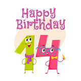Happy birthday vector greeting card design with fourteen number characters. Happy birthday vector greeting card, poster, banner design with cute and funny Royalty Free Stock Photography