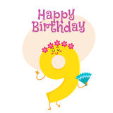 Happy birthday vector greeting card design with nine number characters Royalty Free Stock Photo