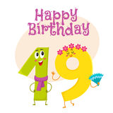 Happy birthday vector greeting card design with nineteen number characters Royalty Free Stock Photo