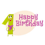 Happy birthday vector greeting card design with one number characters Royalty Free Stock Images