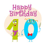Happy birthday vector greeting card design with ten number characters vector illustration