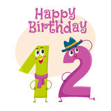 Happy birthday vector greeting card design with twelve number characters stock illustration