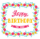 Happy Birthday. Vector greeting card. Hand lettering. Stock Image