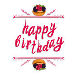 `Happy birthday` VECTOR greeting card template: berry cake on white Royalty Free Stock Photos