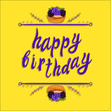 `Happy birthday` VECTOR greeting card template: berry cake on yellow Stock Image