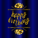 `Happy birthday` VECTOR greeting card template: paper bow on blue Stock Photography