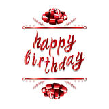 `Happy birthday` VECTOR greeting card template: paper bow on white Stock Photography