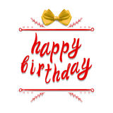 `Happy birthday` VECTOR greeting card template: realistic bow on white Stock Photos