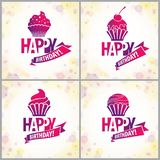 Happy Birthday vector greeting cards set. Includes beautiful lettering and cupcake composition placed over blurred circles. Abstract background. Square shape royalty free illustration