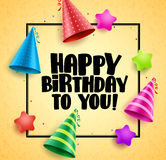 Happy birthday vector greetings card design with boarder Royalty Free Stock Photography