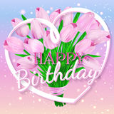 Happy Birthday. Vector illustration with bouquet of colorful tulips and lettering Royalty Free Stock Photo