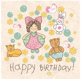Happy birthday vector illustration girl doodle. Girl doodle Happy birthday vector illustration eps10 Royalty Free Stock Photo
