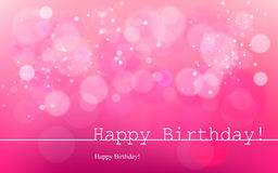 Happy Birthday. Vector inscription on a pink background with bokeh and light. Happy Birthday. Card Design. Vector Blurred Soft Background. Image. Vector. Icon vector illustration