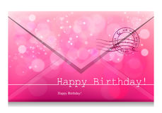 Happy Birthday. Vector inscription on a pink background with bokeh and light. Happy Birthday. Card Design. Vector Blurred Soft Background. Image. Vector vector illustration
